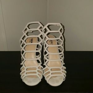 Nude cage style heels
